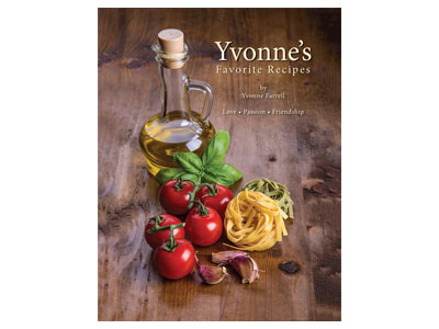 "Book Cover Designed for ""Yvonne's Favorite Recipes"""